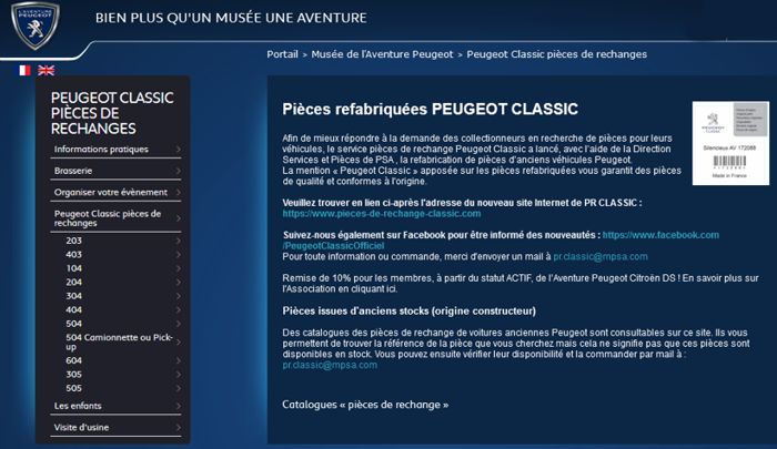 20 Peugeot Classic Pieces Rechanges