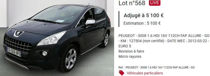 20 Interencheres Peugeot 3008